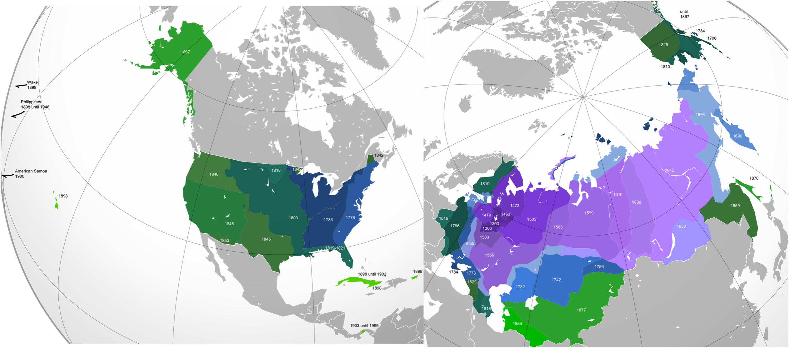 US American Vs Russian Expansion Until  X OC  MapPorn - Map us expansion
